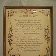 Mother's Way  Mother Motto Buzza Print  Author  Edgar A. Guest