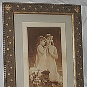 Sisters Kneeling in  Prayer Lg Rare Antique Victorian Print  Outstanding Art Nouveau Frame Art