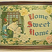 Home Sweet Home  Charming Lg Antique Victorian Floral Motto Print w/ Mother & Child
