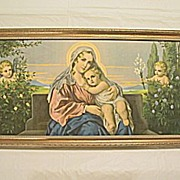 Vintage Virgin Mary and  Baby Jesus  with  Angels in Garden Print Engel-Madonna II  Artist ...