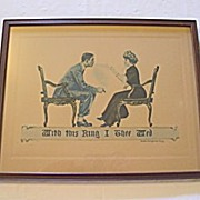 SOLD Antique Print Engagement Proposal with  Ring  of Smoke  Artist: James Montgomery Fingg