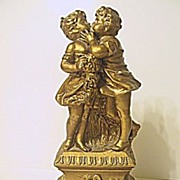 Romantic  Statue of Boy Kissing Girl on Floral Pedestal   Artistic Royal