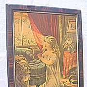Antique Victorian Print of Sweet Young Girl Kneeling and Praying at her Bedroom Window Morning