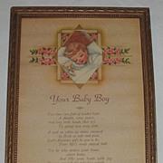 Your Baby Boy  Charming Motto Print Circa 1920's