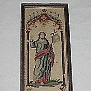 SALE Small  Religious Punch Paper Sampler Needlepoint Picture of Jesus