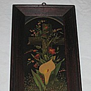 Antique Victorian Print of Yellow Calla Lily and  Flowers Adorning a Cross