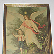 Large Rare  Victorian Print of Guardian Angel Protecting the Distracted Boy from Dangerous Cli