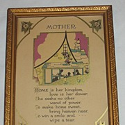 Mother  Motto Print with  Silhouette of Mother Serving Meal to Family