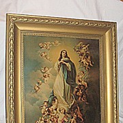 The Immaculate Conception Virgin Mary  with  Angels  X-Lg  Antique Victorian Lithograph  Print