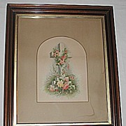 SALE X-Lg  Antique Victorian Religious Print of a Floral Decorated Cross in Deep Walnut Frame