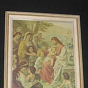 Christ Blessing The Children  Antique Religious Print of Jesus  Children  Others Gathering Aro