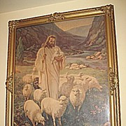 SALE Vintage The Lord is My Shepherd  Jesus  with Sheep Religious Print  Artist  Warner Sallma