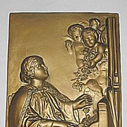SALE Vintage Religious Plaster Plaque of Saint Cecilia  The Holy Virgin Playing Organ  with 3