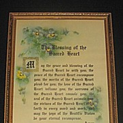 The Blessing of the Sacred Heart   Religious Floral Motto Print with  Pansies and Textured Det