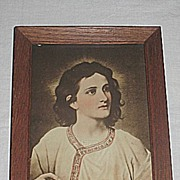 Vintage Portrait of Jesus Christ at 12 Years Old  Sepia Religious Print in Oak Frame