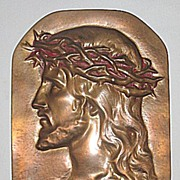SALE Jesus Christ with Crown of Thorns   Religious Bronze Portrait