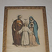Enthronement Consecration Family Certificate Antique  Religious House Blessing  Print  with  H