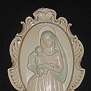 Large Vintage Religious Chalkware Hanging Wall Plaque of Mary and  Baby Jesus with Beautiful .