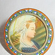 The Adoring Virgin Mary Small Antique Victorian Portrait Celluloid Painting in Mosaic Frame