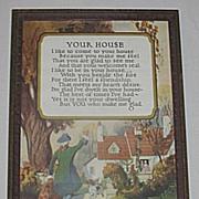 Your House   Buckbee Brehm Motto Print Circa 1920's