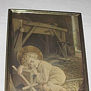 Vintage Religious Print of Young Carpenter Jesus Sleeping with  a Cross in His Father's ...