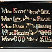 Reverse Painted Motto of Faith  Love  Peace  Blessing   God  Inspirational   Hand Done Foiling