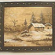 SALE Antique Victorian  Captivating Winter Scene Watercolor Painting