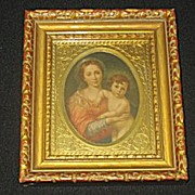 Vintage Religious Print of The Virgin Mary Embracing Baby Jesus Circa 1920's