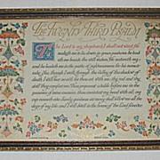 Vintage The Twenty Third Psalm  Religious Buzza Motto Print Circa 1920's