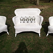 SALE Three Piece Fancy Antique Victorian Wicker Parlor Set Heywood Brothers and Wakefield Comp