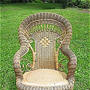 Child's Natural Antique Victorian Wicker Rocker Heywood Brothers and Wakefield Company Circa .