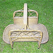 SALE Natural Victorian Wicker Wood Basket Heywood Brothers and Wakefield Company
