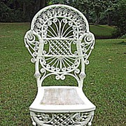 Rare and Ornate Antique Victorian Wicker Reception Chair Heywood Brothers and Company Circa ..