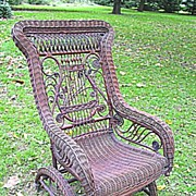 Rare Natural Antique Victorian Wicker Platform Rocker