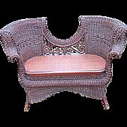 SALE Rare Antique Victorian Ornate Natural Wicker Settee