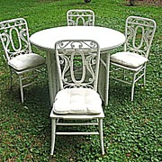SALE Rare Antique Victorian Wicker Table with 4 Matching Chairs