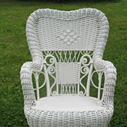 Fancy Antique Victorian Child's Wicker Rocker Heywood Brothers and Wakefield Company