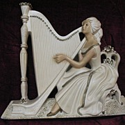 SALE Lady with Harp Large Chalkware Hanging Plaque