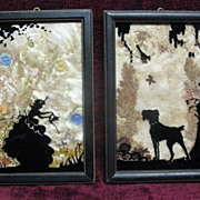 Pair of Handpainted Silhouettes Girl and Terrier Dog Circa 1920's