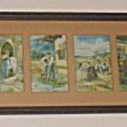 'The Lord's Prayer' Composed of 8 Illustrations in 1, Lg Rare Unique Embossed & Matted A