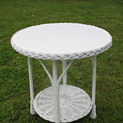Vintage Round Wicker Table