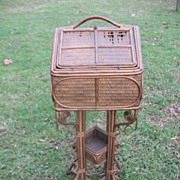 """SALE Rare and Special Antique Victorian Wicker """"House"""" Sewing Stand"""