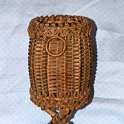 Antique Wicker Victorian Natural Footed Wine Bottle Holder