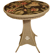 Round Art Deco Wicker Pedestal Table Circa 1920's