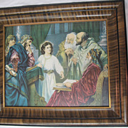 Jesus in the Temple w/ the Doctors'  Religious Print in Wood and Gesso Frame / Artist ...
