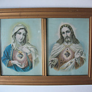 Sacred Heart Jesus and Mary Prints in Double Frame