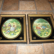 Pair of Hand Stitched Romantic Pictures with Reverse Painted Glass with Gold Highlights