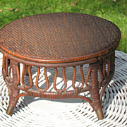 SALE Antique Victorian Natural Wicker Foot Stool