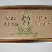 """Vintage Religious House Blessing w/ Jesus Print """"God Bless Our Home"""""""