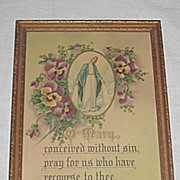 Vintage Prayer Blessing of the Virgin Mary Inspirational  Religious Print Circa 1920's